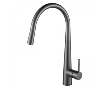 Round Brushed Nickel Pull Out Kitchen Sink Mixer Tap